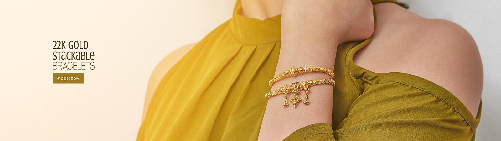 22k gold stackable trending bracelet designs for her
