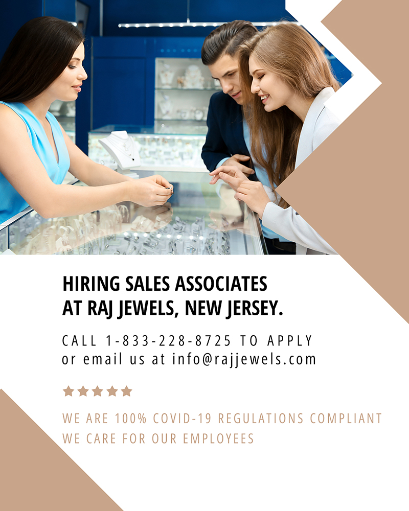 Hiring Sales Associates at Raj Jewels, New Jersey
