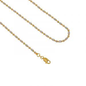 22k Gold 2-Tone Beads Ball Chain- 18