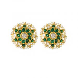 22k Diamond Polki Emerald Diamond Polki Studs