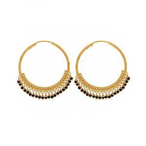 22k Gold Big Black Beads  Hoops