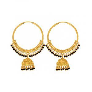 22k Gold Black Beads Jhumka Hoops