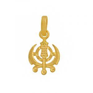 22k Gold Small Khanda Gold Pendant