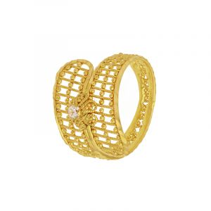 22k Gold Filigree Cz Wrap Ring