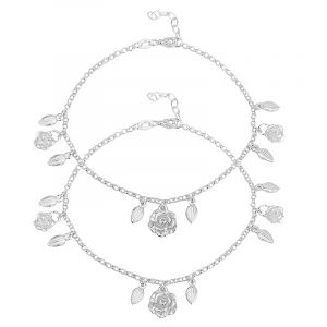 0.925 Silver Rose Leaves Charm Anklets