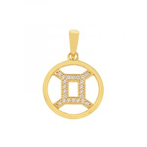 22k Gold Gemini Cz Round Pendant