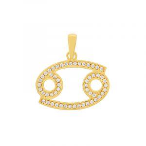 22k Gold Cz Cancer Symbol Pendant