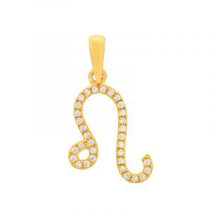 22k Gold Leo Cz Gold Pendant