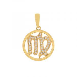 22k Gold Virgo Cz Gold Pendant