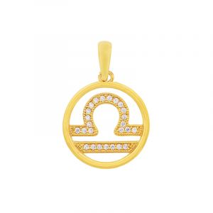22k Gold Libra Cz Symbol Pendant