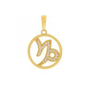 22k Gold Capricorn Cz Gold Pendant