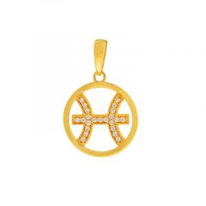 22k Gold Cz Pisces Symbol Pendant