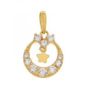 22k Gold Dangling Cz Star Pendant