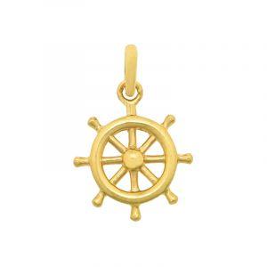 22k Gold Ship Wheel Charm Pendant