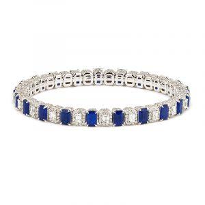 18k Diamond Sapphire Diamond Expandable Bangle