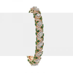 18k Diamond Diamond Emerald Expandable Bangle