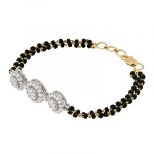 18k Diamond 3-stones mangalsutra bracelet