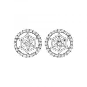 18k Diamond Circular Floral Diamond Studs