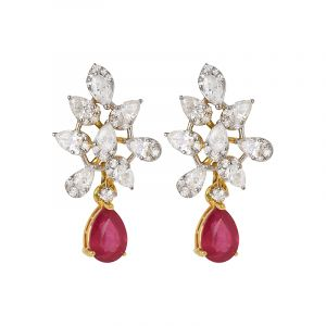 Ruby Diamond Drop Studs