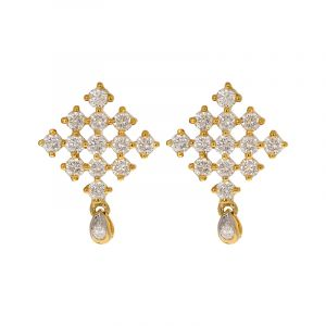 18k Diamond Dangle Square Diamond Studs