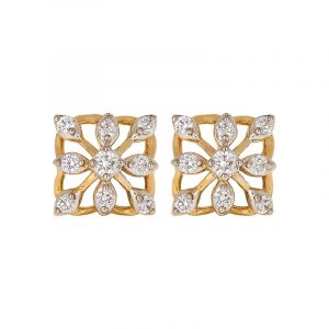18k Diamond Dainty Square Diamond Studs