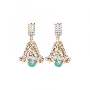 18k Diamond Diamond Emerald Jhumkas