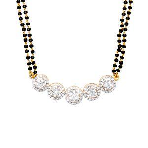 18k Diamond 5-Halo Diamond Mangalsutra