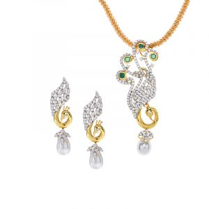 18k Diamond Whimsical Peacock Pendant Set