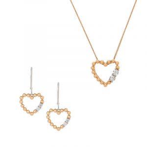 Diamond Heart Pendant Set
