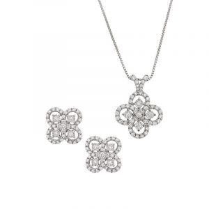 Diamond Clover Pendant Set