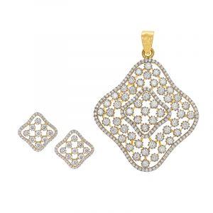 18k Diamond Clover Cluster Pendant Set