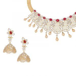 Diamond Pearl Dangles Necklace