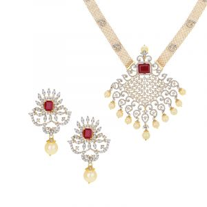 Diamond Pearl Gems Necklace