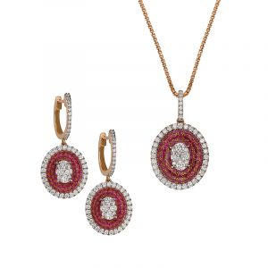 Oval Diamond Pendant Set