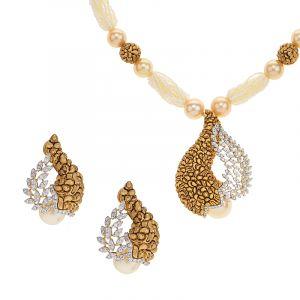 18k Diamond Enaki Diamond Pearl Necklace
