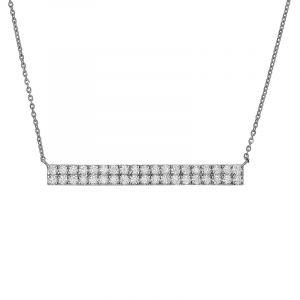 18k Diamond Dual Diamond Bar Necklace
