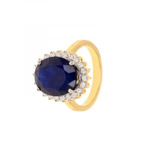 18k Diamond Oval Sapphire Diamond Ring