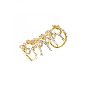 18k Diamond Bows Full Finger Ring