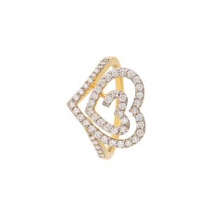 18k Diamond Swirl Heart Diamond Ring