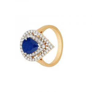 18k Diamond Pear Sapphire Diamond Ring