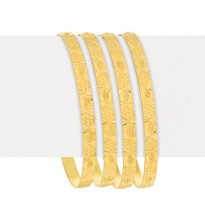 22k Gold Elegant Embossed Gold Bangles