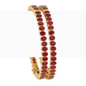 22k Gold Ruby Red Gemstone Bangles