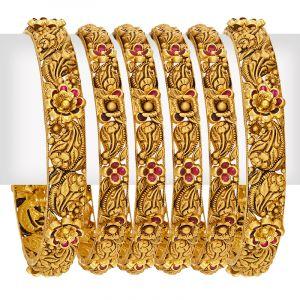 22k Gold Paisley Floral Bangles Set