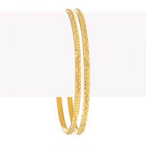 22k Gold Slim Abstract Bangles