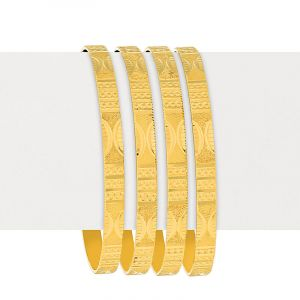 22k Gold Contemporary Emboss Bangles