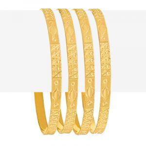 Embossed Design Gold Bangles