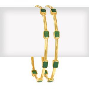 Emerald Gems Gold Bangles