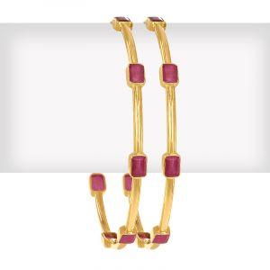 22k Gold Ruby Gems Gold Bangles
