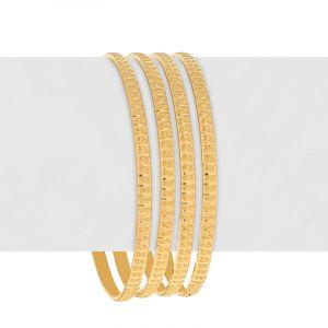 22k Gold Embossed Dots Gold Bangles