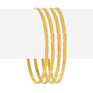 22k Gold Textured Slim Four Bangles
